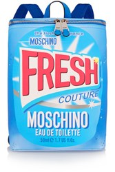 Moschino Printed Faux Textured Leather Backpack Light Blue