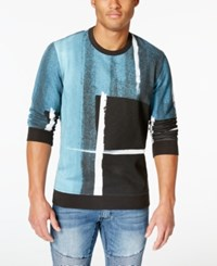 Inc International Concepts Men's Grunge Print Sweatshirt Only At Macy's Basic Navy