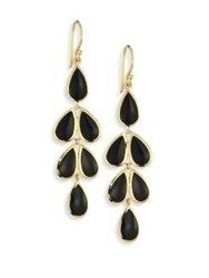 Ippolita Polished Rock Candy Black Onyx And 18K Yellow Gold Teardrop Cascade Earrings Gold Black