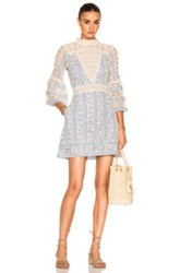Sea Column Crochet Bell Sleeve Dress In Blue White Blue White
