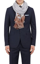 Colombo Men's Striped Cashmere Silk Twill Scarf Grey