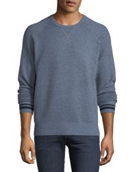 Velvet Crewneck Wool Blend Sweater Blue