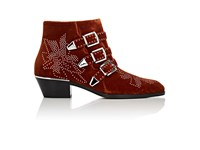 Chloe Women's Suzanna Velvet Ankle Boots Brown Gold