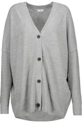 Vince Oversized Wool And Silk Blend Cardigan Stone