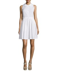 Michael Kors Sleeveless Collared Shirtdress Optic White