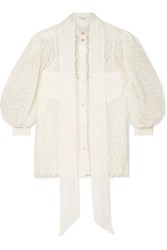 Givenchy Pussy Bow Silk Crepe Trimmed Lace Blouse Ivory