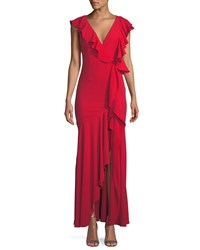 Fame And Partners Vionna V Neck Sleeveless Draped Ruffled Evening Gown Red