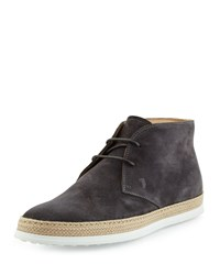 Tod's Suede Lace Up Espadrille Boot Dark Gray