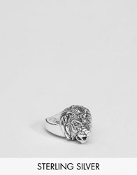 Asos Sterling Silver Lion Ring Silver