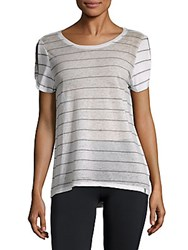 Marc New York Striped Hi Lo Tee White Grey