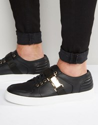 Asos Trainers In Black With Gold Clasp Black