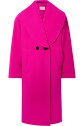Marc Jacobs Oversized Double Breasted Wool Blend Coat Fuchsia