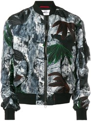 Oamc Painterly Floral Bomber Jacket Black