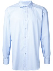 H Beauty And Youth Button Up Shirt Blue