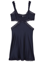 Stella Mccartney Clara Whispering Navy Silk Satin Chemise