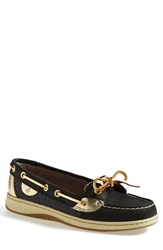 Sperry 'Angelfish' Boat Shoe Black Gold Glitter