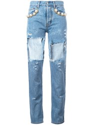 Forte Couture Cut Out Jeans Blue