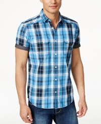 Inc International Concepts Mushburger Plaid Short Sleeve Shirt Only At Macy's Bluepoint