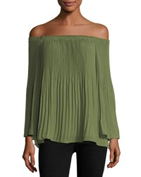Max Studio Off The Shoulder Georgette Blouse Green