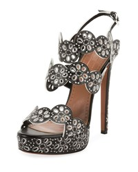 Alaia Leather Laser Cut Platform Sandals Black White