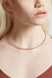Forever 21 Beaded Rhinestone Choker Rose Gold Clear