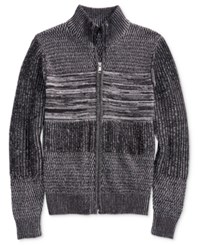 Guess Men's Marled Full Zip Sweater Grey Multi