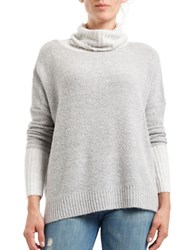 Three Dots Solid Ribbed Cowlneck Pullover Grey
