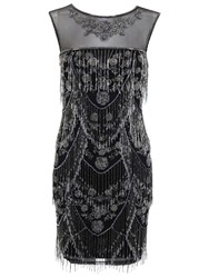 Miss Selfridge Embellished Shelly Fringe Dress Black