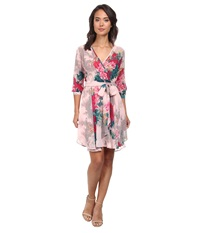 Gabriella Rocha Hannah Chiffon Dress Pink Teal Floral Women's Dress