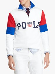 Ralph Lauren Polo Half Zip Double Knit Pullover White Multi