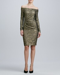 Carmen Marc Valvo Off The Shoulder Long Sleeve Cocktail Dress