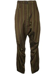 Rundholz Striped Trousers Women Cupro S Brown