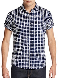 Saks Fifth Avenue Red Trim Fit Printed Cotton Short Sleeve Shirt