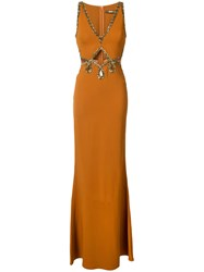 Roberto Cavalli Bead Embellished Gown Women Silk Spandex Elastane Viscose 42 Brown
