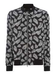 Religion Haw Feather Print Lightweight Bomber Jacket Black