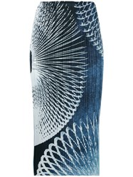 Issey Miyake Pleats Please By Pleated Printed Skirt Women Polyester 2 Blue
