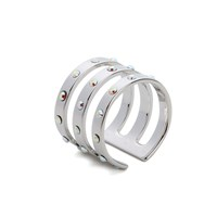 Maria Francesca Pepe Women's Encrusted Triple Band Ring Rhodium Silver