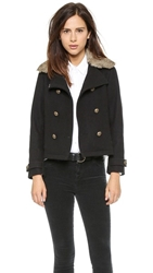 Gerald And Stewart By Fidelity Short Rabbit Collar Pea Coat Black