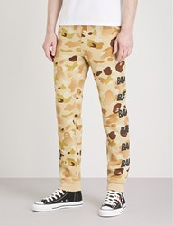 A Bathing Ape Camo Print Cotton Jersey Jogging Bottoms Beige