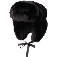 Faux Fur Trapper Hat Black