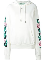 Off White Graphic Tulip Print Hoodie Women Cotton Xs White