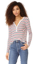Pam And Gela Striped Henley White Red Blue