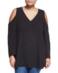 Chelsea And Theodore Plus Long Sleeve Cold Shoulder Top Black