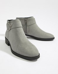New Look Buckle Detail Ankle Boot Grey