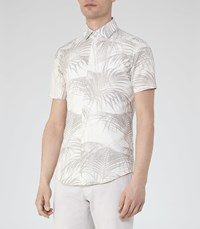 Reiss Mccawly Mens Palm Print Shirt In Brown