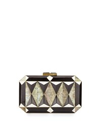 Sara Faceted Shell Minaudiere Black White Rafe