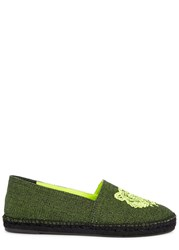 Kenzo Neon Tiger Embroidered Canvas Espadrilles Yellow