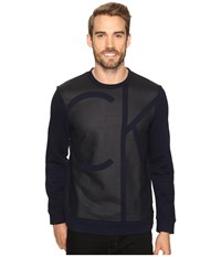 Calvin Klein Long Sleeve Color Blocked Printed Crew Neck Shirt Cadet Navy Men's Clothing Black