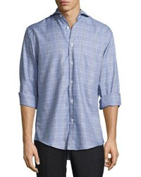 Neiman Marcus Classic Fit Regular Finish Plaid Sport Shirt Blue