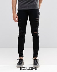 Cheap Monday Low Spray Slash Extreme Super Skinny Jeans In Black Extreme Rips Black